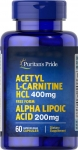 Acetyl L-Carnitine 400 mg with Alpha Lipoic Acid 60 кап